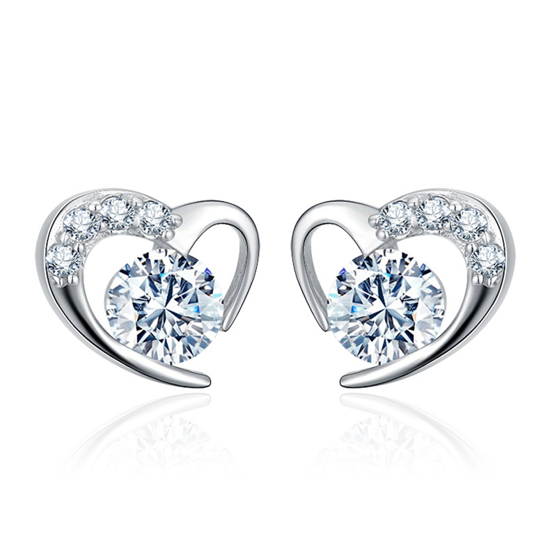 Wholesale 925 sterling silver fashion romantic love heart shiny crystal stud earrings women jewelry birthday gift drop shipping