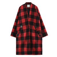 AZURE SHEN Spring Autumn 2018 New Pattern Plaid Single Button Batwing Sleeve Loose Thick Cheaper