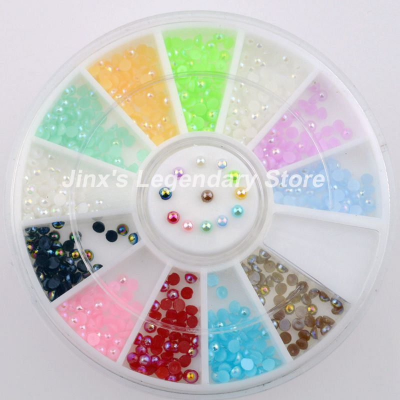 High Quality Super Deal 3D flash 12 colours pearl nail art Decoration DIY wheel JSL8012