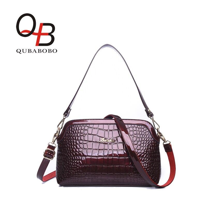 ФОТО Women Crocodile Shell Bag Light Color Patent Leather Handbag Female Shoulder Bags Girl Fresh Crossbody Bag Fashion QUBABOBO 2017