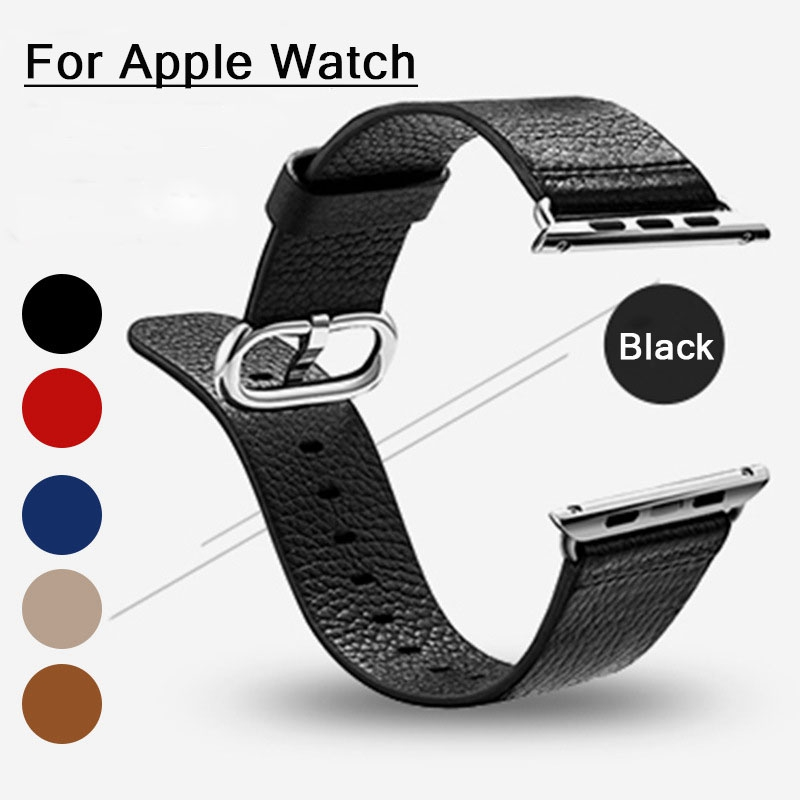 Black Men's Sports Bracelet Genuine Leather Wrist Watch Bands Connector Adapter strap For 42MM/38MM Apple Watch Band for iWatch genuine leather band 22mm 24mm for iwatch apple watch 38mm 42mm watchband strap bracelet with connector adapter black brown red