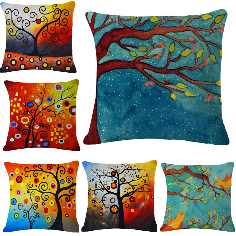 Fashion Decorate Home Cotton Linen Sofa Cushion Cover Tree