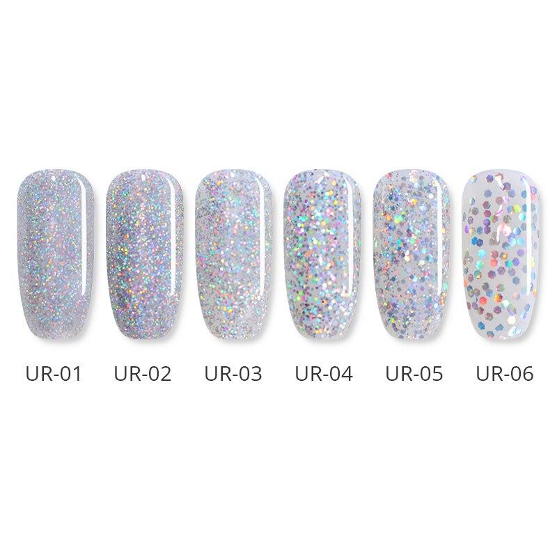 Τέχνη νυχιών   εργαλεία UR SUGAR 7.5ml Silver Holographic UV Gel Varnish  Laser Sequins Sparkle Gel Nail Polish Soak Off Nail Art Lacquer 94dc49c26656