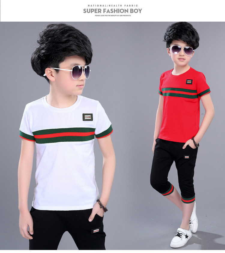Casual Active Boys Clothes Set Summer Girls Teenage T Shirt Shorts Children Suit 2019 Kids Outfits Sports Clothing For Boys 2Pcs (15)
