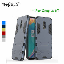 WolfRule Oneplus 6T Case Cover Soft Silicone + Plastic Kickstand Fundas Back For 6 T Phone 6.41