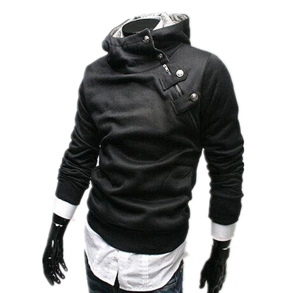 Free shipping Mens Jacket Slim Mens Hoodies Mens Turtleneck Hooded Jumper Thicken Warm Coat Sweatshirts Big Size M-3XL