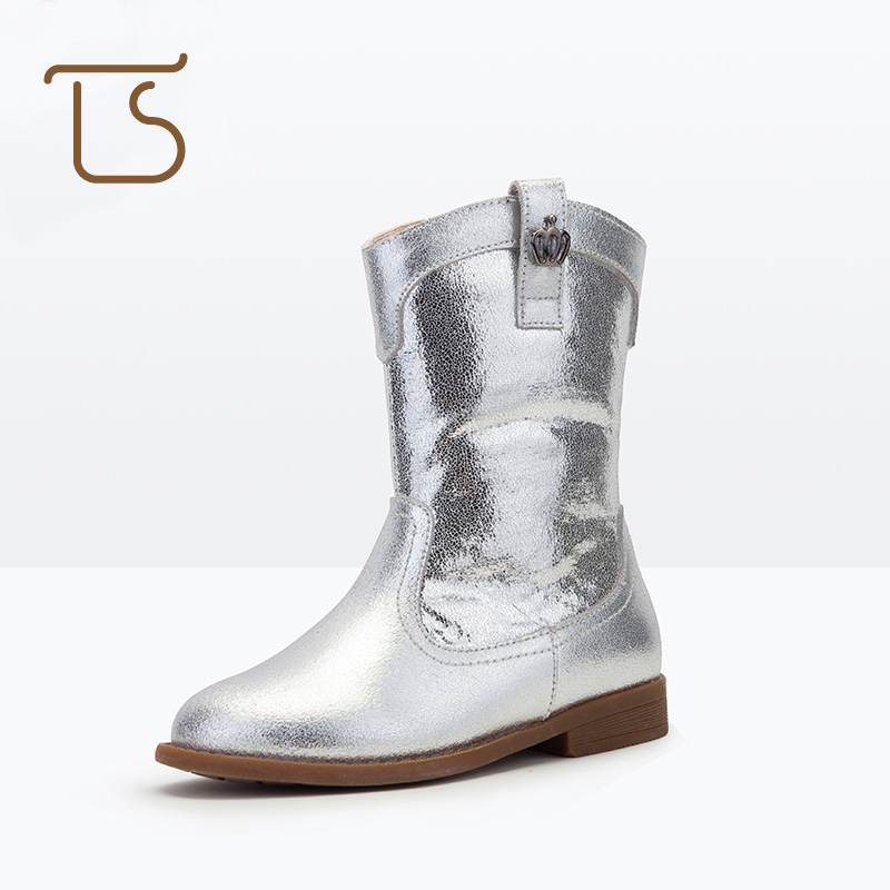 T.S. kids boots Winter Fashion Warm Waterproof Girls Boots Leather Rubber Sole Red Black Martin Kids Boot Children Shoes 2016 new fashion children martin boots girls boys winter shoes kids rain boots pu leather kids sneakers waterproof anti skid