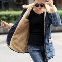 Plus Size Women's Warm Lambswool Middle Long Denim jackets Winter 2019 Loose Basic Thick Hooded Jean Coats Female