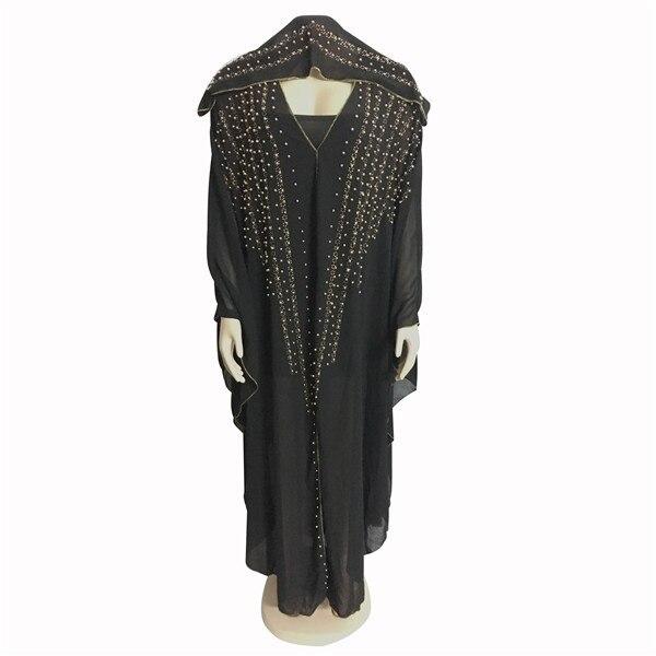 African Dresses For Women Beading Robes Long Maxi Dresses Fashion Plus Size Chiffon Dress Hooded Black Abaya Batwing Vestidos 3