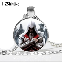 2017 New Arrival Assassin's Creed Necklace Handmade Round Brotherhood assassins creed Jewelry Glass Dome Steampunk Necklace HZ1