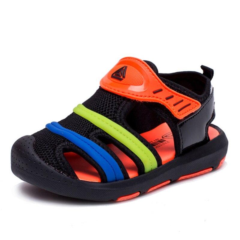 Summer Boy Beach Sandals Kids Shoes Closed Toe Sandals For Boys Children Cut Out Breathable Flats Shoes Anti-Slip Shoe D0044