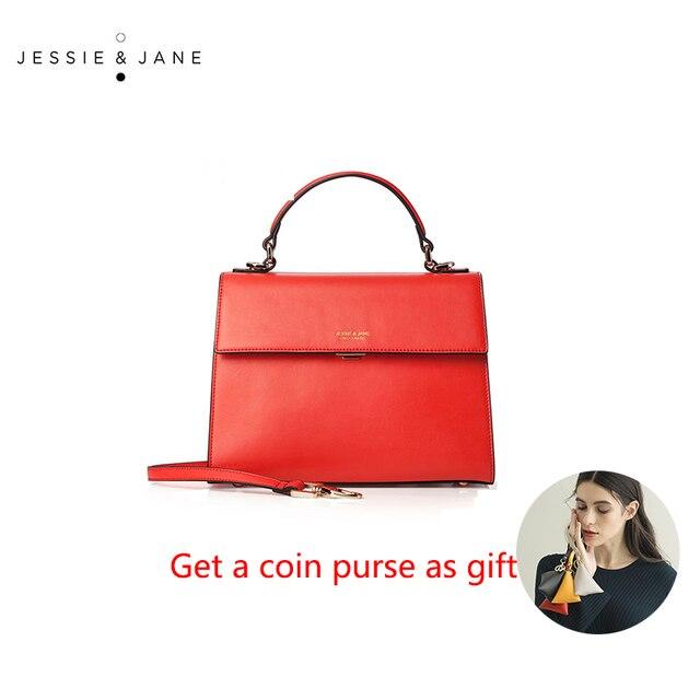 JESSIE&JANE Designer Brand Split Leather Women Messenger Bags Handbag Satchel Bag Shoulder Bags Top-Handle Bags 1262