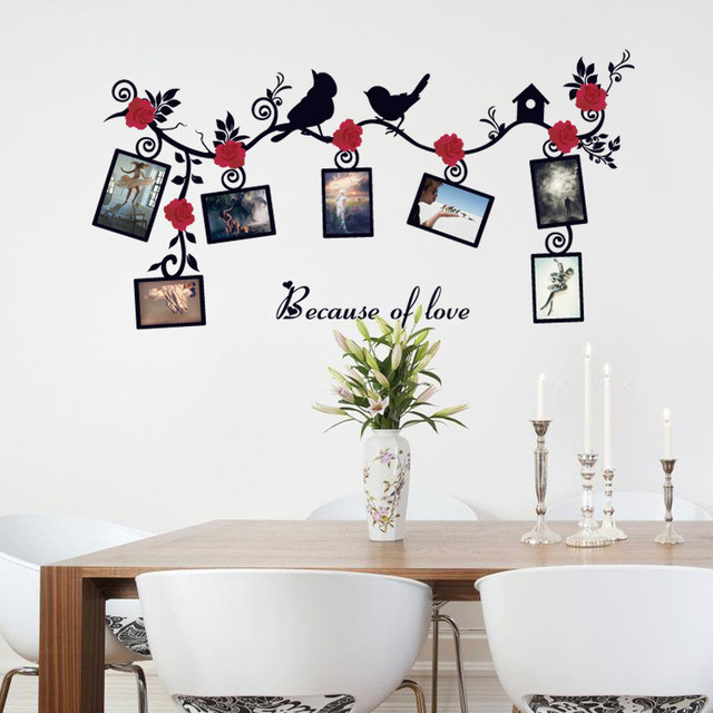 DIY 3D Photo Frame Wall Stickers Flowers Birds Pattern Removable ...