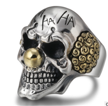 Vintage Clown Personality Exaggeration Ring Gold/Silver Color Joker Face Design Gothic Skull Punk Rock Knight Biker Jewelry(China)