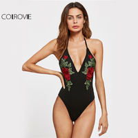 COLROVIE Halter Slim Backless Bodysuit Floral Embroidery Women Summer Beach Bodysuits 2017 Basic Sexy Plunging Skinny