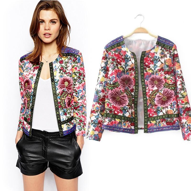 Women Ladies Floral Print Long Sleeve Jacket Casual Blazer Suit Coat Autumn Top