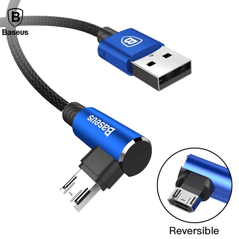 Baseus הפיך מיקרו USB כבל טעינה מהירה מטען 90 תואר Microusb כבל עבור סמסונג Xiaomi אנדרואיד נייד טלפון כבלים