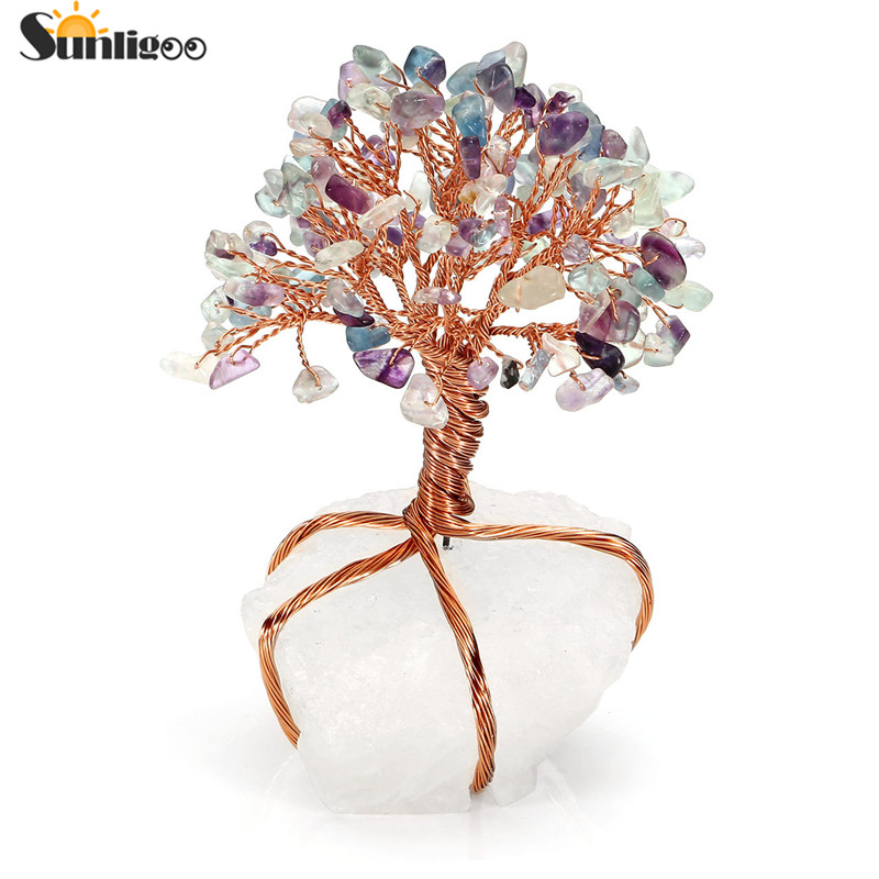 Sunligoo Chakra Healing Fluorite Crystals Copper Tree of Life Wrapped Natural Clear Quartz Crystal Base Feng Shui Luck Figurine