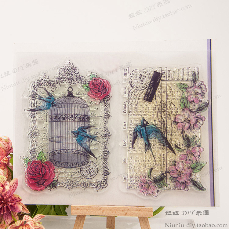 Bird cage swallows Scrapbook DIY photo cards account rubber stamp clear stamp transparent handwork art seal school Kid gift купить