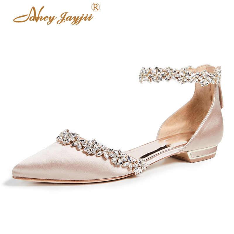 Wedding Shoes For Bride Flats Ladies Satin Marriage Crystal Big Size 45  Pointed Toe Elegant Mature 95302080af6c