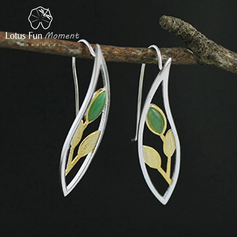 цена Lotus Fun Moment Real 925 Sterling Silver Natural Creative Handmade Fashion Jewelry Spring in the Air Leaves Drop Earrings Women онлайн в 2017 году