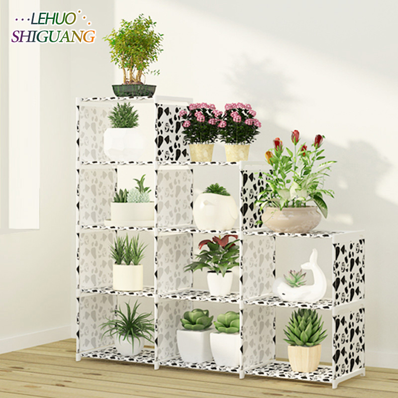US $45.91 18% OFF|Multi layer Storage Shelf Stainless steel nonwovens  bookshelf Simple Assembly can be removed Bedroom Flower pot rack-in Plant  ...