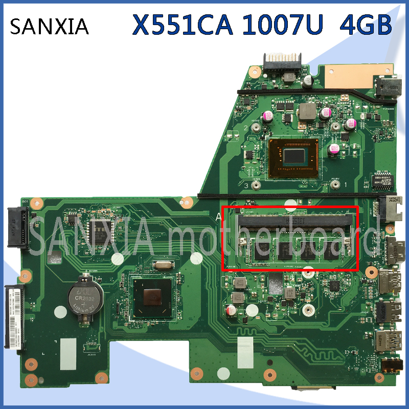 SHELI original X551CA motherboard for ASUS X551CA F551C F551CA laptop motherboard tested mainboard 1007U 4GB rev2.2 notebook ytai 1007u processor for asus x200ca laptop motherboard hm70 usb3 0 rev 2 1 with 1007u 4g ram mainboard fully tested