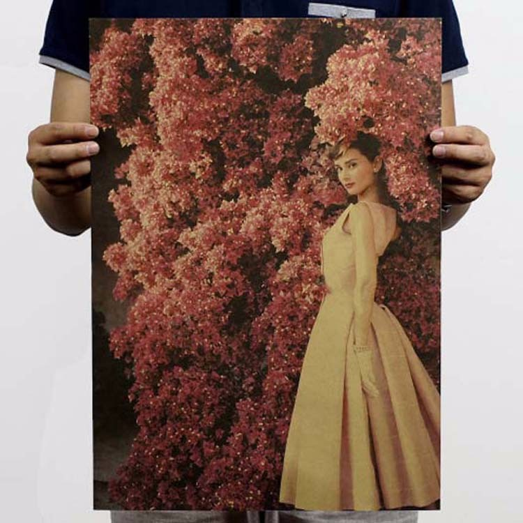 Us 134 10 Off17 Styl W Stylu Vintage Plakat Audrey Hepburn Plakaty Z Papieru Kraft Dekoracje Domu Plakaty Filmowe 51355 Cm W Naklejki ścienne Od