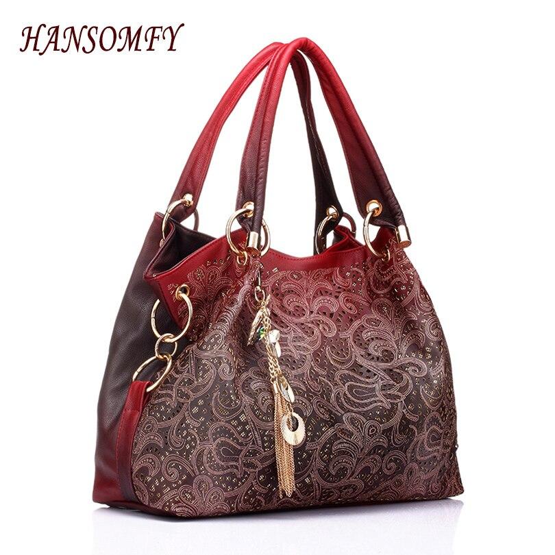 ФОТО New Hot Hollow Out Large Leather Tote Bag Luxury Women Shoulder bags Fashion Women Bag Brand Handbag Bolsa Feminina Quality Bags