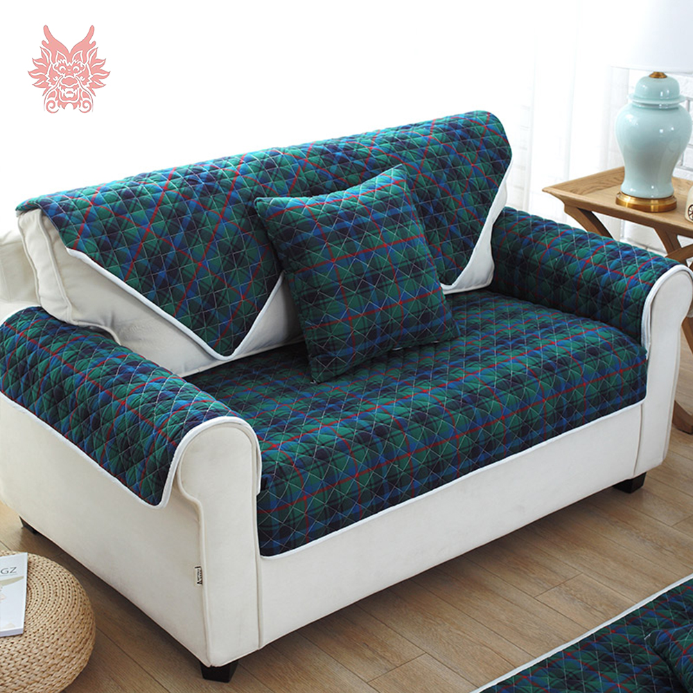 Green Blue Plaid Sofa Cover Quilting Slipcovers Cotton Anti Slip Furniture Couch Covers Fundas De Sp4248 Free Shipping In From Home Garden