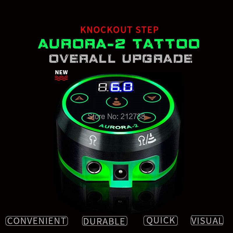 Новый профессиональный мини Аврора II ЖК-источник питания для татуажа с адаптером питания для катушек и роторных тату-машин