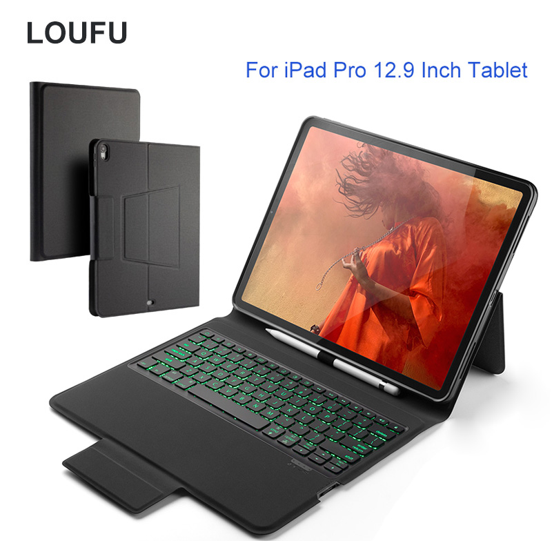 Loufu For Ipad Pro 12.9 Case Keyboard Bluetooth 4.0 Backlight Leather Case With Pencil Holder For Ipad Pro 12.9 Keyboard Cover