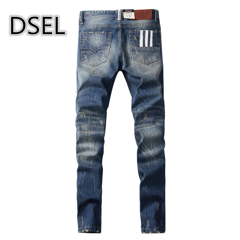 High Quality Fashion Mid Stripe Mens White Buttons Jeans Ripped Denim Trousers Dsel Brand Slim Fit Blue Jeans Men 9003-5 fashion slim straight dark jeans men mid stripe mens jeans ripped denim trousers new famous brand biker jeans a625