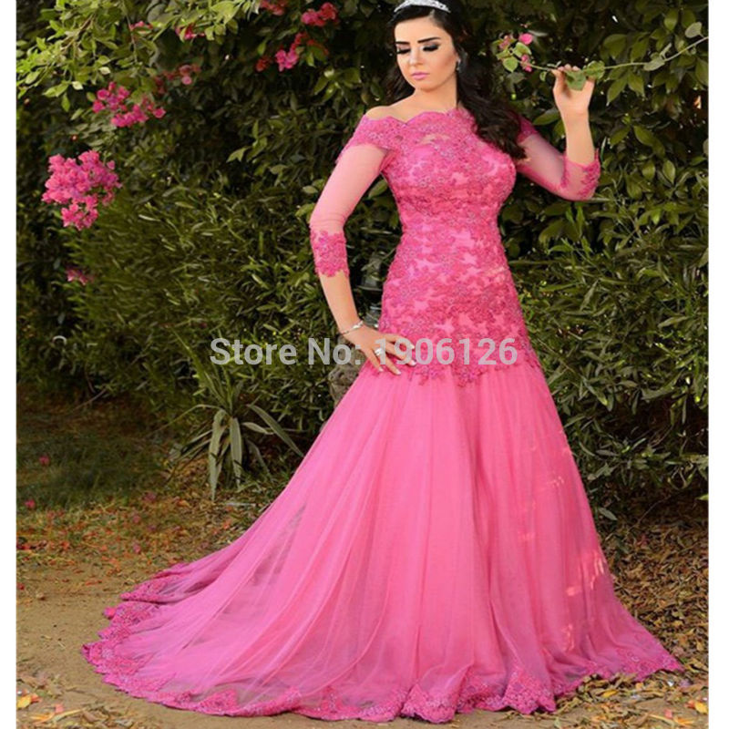 Crop Top Brazil Long Lace Prom Dress With Sleeve Mermaid Evening ...