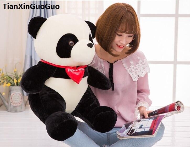 Grand 55 cm belle panda en peluche jouet rouge coeur panda doux poupée coussin cadeau d'anniversaire s0513