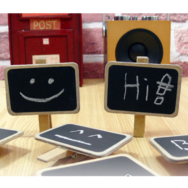 1pc Mini Cute Kawaii Wooden Blackboard Chalkboards Clips Holder For Paper Decoration Photo Album Size:6.8*4.8cm