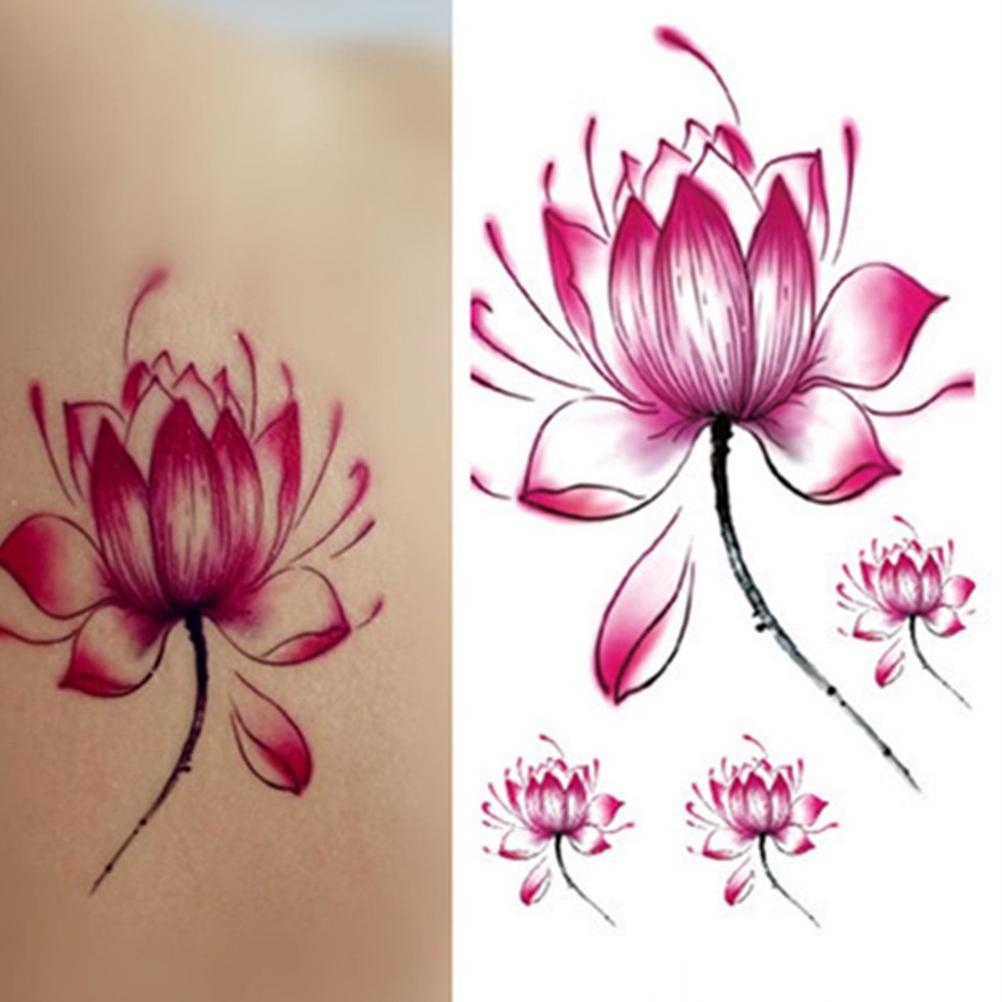 Waterproof Temporary Tattoo Sticker Pink Lotus Tattoo For Girls