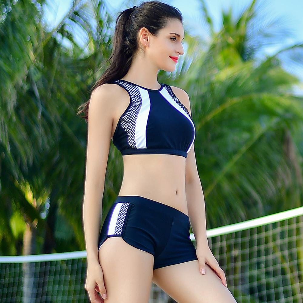 a6efad6c24d45 Hohe Taille Frauen Bikini Sets Sport Biquini Femme Trainings Bademode  Shorts Schwarz Weiß Badeanzug High Neck Badeanzug Tankini in Hohe Taille  Frauen Bikini ...