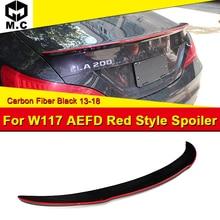 For MercedesMB W117 CLA45 FD style 4MATIC Carbon fiber Red line Rear wing spoiler CLA Class 180 200 250 CLA45 Look wings 2013-18 недорого