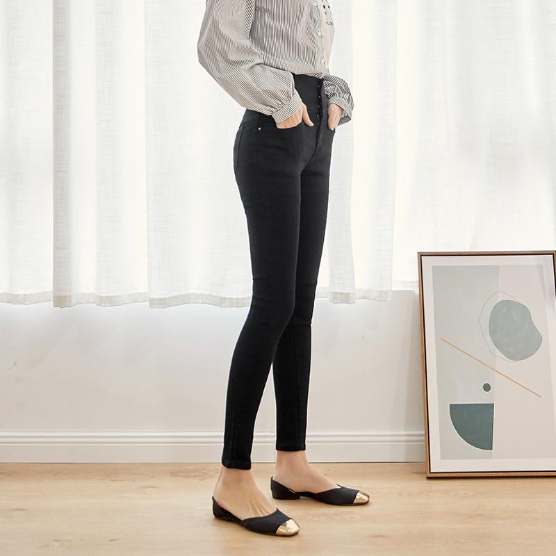 LEIJIJEANS 2019 autumn high waist slim ladies jeans button fly elastic waist legging jeans plus size stretchy black women jeans