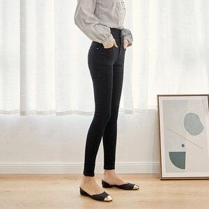 Image 3 - Leijijeans calça jeans feminina, cintura alta com botões, elástica, para outono, plus size, preta, 2020