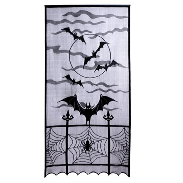 Halloween Decoration Lace Door Panel Spiderweb Curtain For Home Window  Decoration Haunted House Halloween Party Supplies