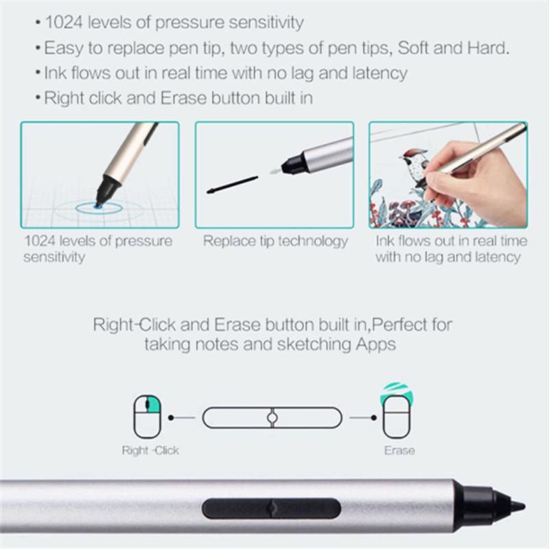 Universal Surface Stylus Pen for Microsoft Surface Pro 3 Pro 4 Pro 5  Surface Book Go Laptop Studio Capacitive Pen With Replac