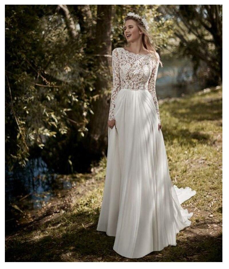 New Boho Long Sleeves Wedding Dress 2019 Robe De Mariee Vintage Lace Top New Bridal Dress Chiffon Wedding Gowns Vestidos