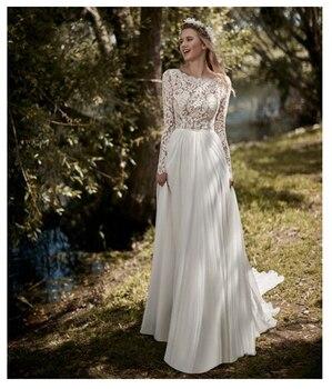 New Boho Long Sleeves Wedding Dress 2019 Robe de mariee Vintage Lace Top Bridal Chiffon Gowns Vestidos