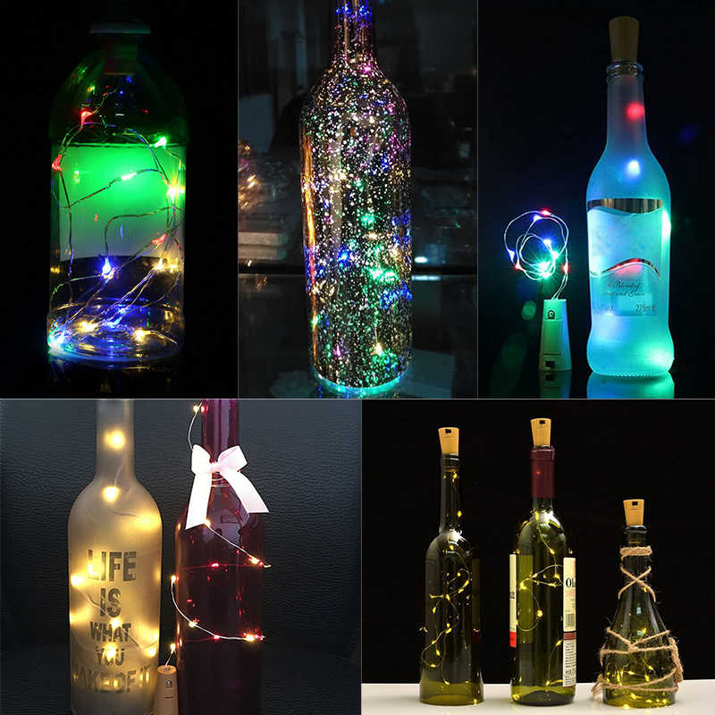2 M ทองแดงลวด Fairy String ไฟ 15 LEDs แบตเตอรี่ดำเนินการขวดไวน์ไฟตกแต่งสำหรับ Home