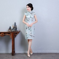 Plus Size XXXL 2018 Lady Slim Elegant Qipao 100% Real Slik Print Floral Cheongsam Chinese Traditional Mandarin Collar Dress