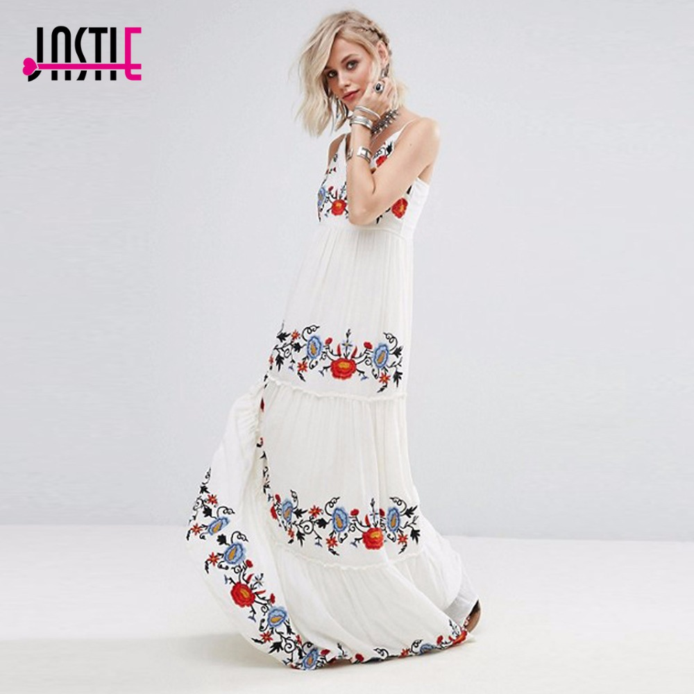 Jastie White Dress Floral Embroidered Maxi Dress Elegant Party Dress Boho People Casual Beach Long Dresses