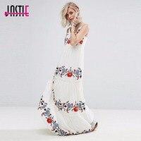 Jastie White Dress Floral Embroidered Maxi Dress Elegant Party Dress Boho People Casual Beach Long Dresses Summer Women Vestidos