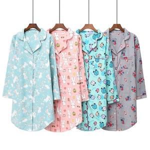 Image 2 - Daeyard 100% כותנה כתונת לילה נשים אביב כותונת ארוכת חמוד Cartoon לילה שמלה בתוספת גודל הלבשת רך מזדמן בגדי בית